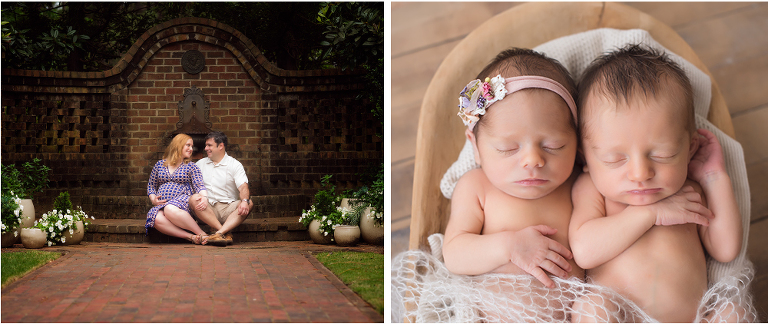 two images of newborn baby twins laying in a bed and parent maternity pictures