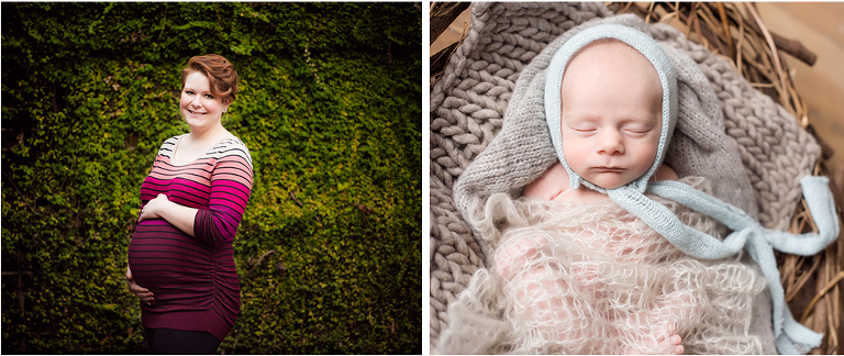 two images newborn baby boy and mom maternity pictures