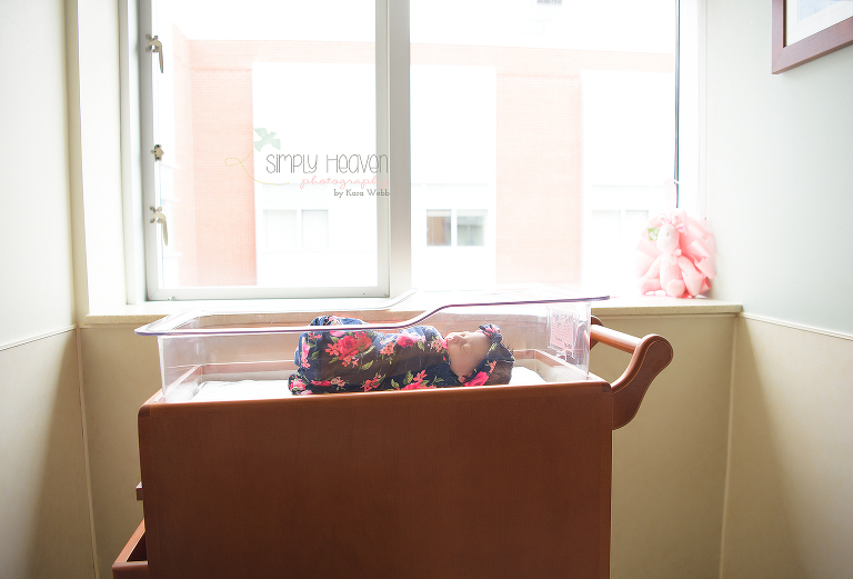 fresh48 picture of a newborn baby girl in a crib bassinet in front of a hospital window