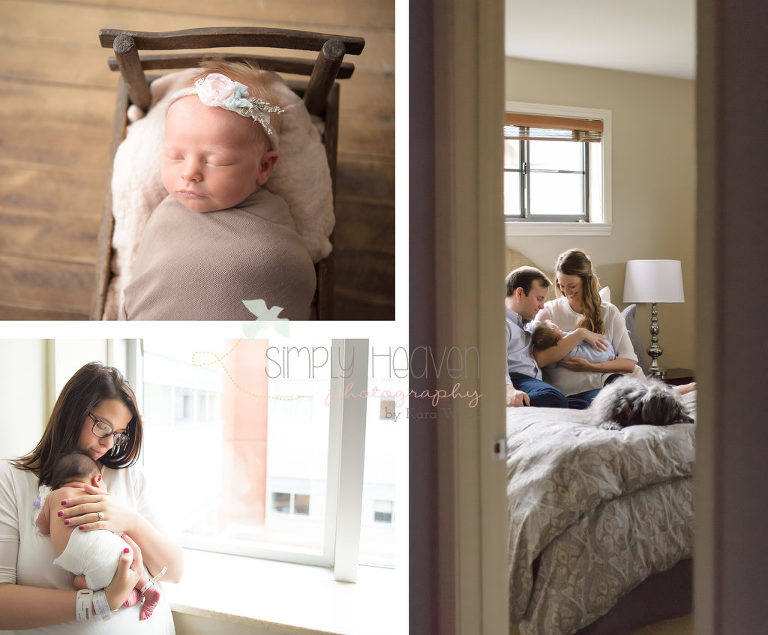 three pictures of different newborn sessions